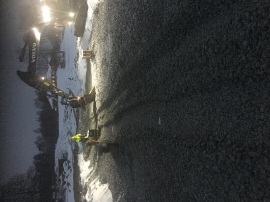Utläggning skumglas, Fredrikstrandsvägen